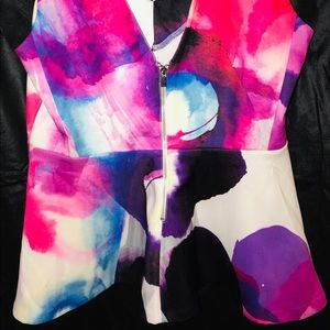 Vibrant Colorful Peplum Top